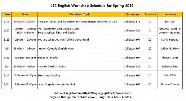 LEC English Workshop Schedule for Spring 2019.PNG